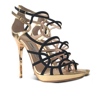 NEW Bunting Metallic Caged Strappy Sandals